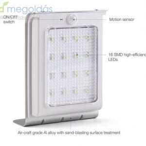 Napelemes 16 LED-s fény és mozgás érzékelős kültéri lámpa