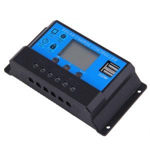 30A-es 12V/24V Napelem töltésvezérlő USB kimenettel és LCD kijelzővel