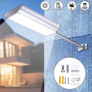 70 LED-es napelemes fali utcalámpa 5 világítási móddal, mozgásérzékelővel