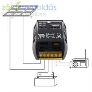 10A-es 12/24V PWM napelem töltésvezérlő