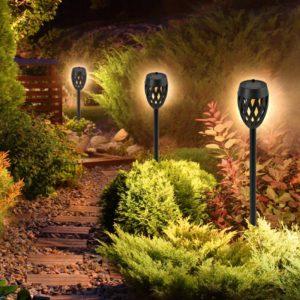 6db Napelemes tűzhatású, földbe szúrható kültéri LED fáklya