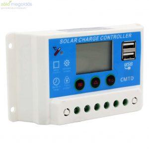 10A-es 12/24V PWM Napelem töltésvezérlő USB kimenettel és LCD kijelzővel