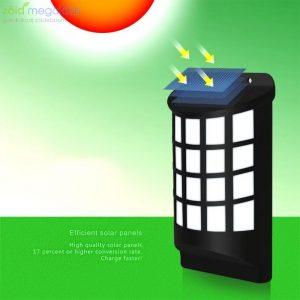 Hangulatos láng hatású napelemes fali lámpa, dekoráció