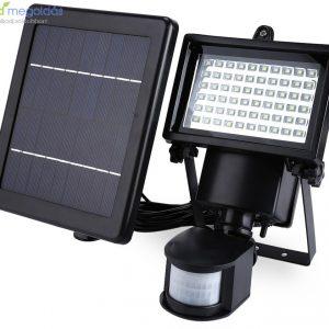 60 LED-es Mozgásérzékelős napelemes reflektor különálló panellel