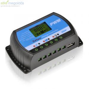 20A-es 12/24V PWM Napelem töltésvezérlő USB kimenettel és LCD kijelzővel