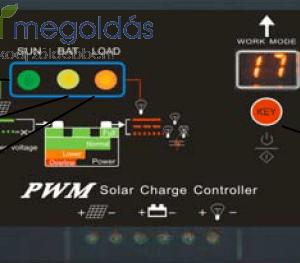 20A-es PWM napelem töltésvezérlő USB kimenettel