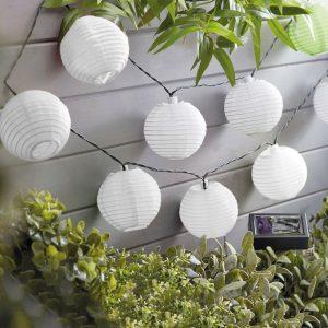 Szolár lampion fényfüzér – 10 db fehér lampion, hidegfehér – 3,7 m