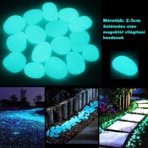 Sötétben világító, foszforeszkáló dekorkavicsok-100db/csomag