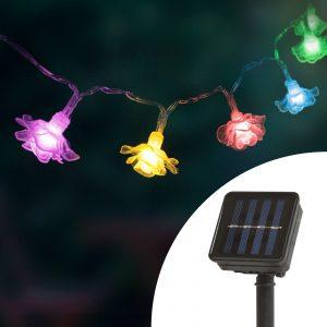 LED szolár színes fényfüzér – virág – 2,3 m – 20 LED